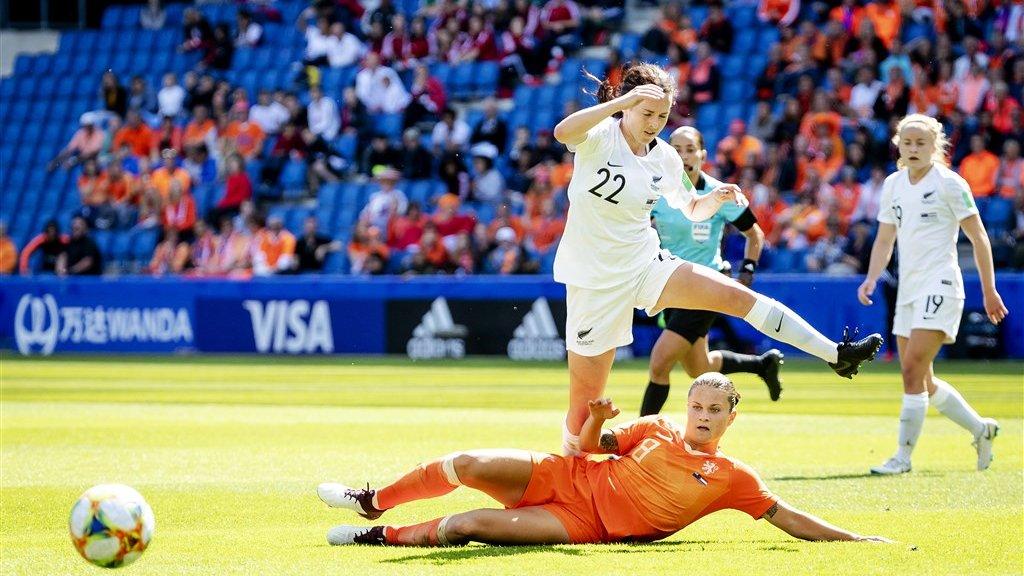 Sherida Spitse in actie tijdens het WK in Frankrijk.