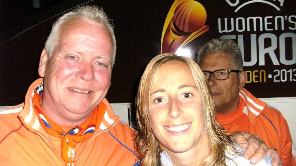 Op het EK van 2013 maakte Peter deze foto met Loes Geurts.