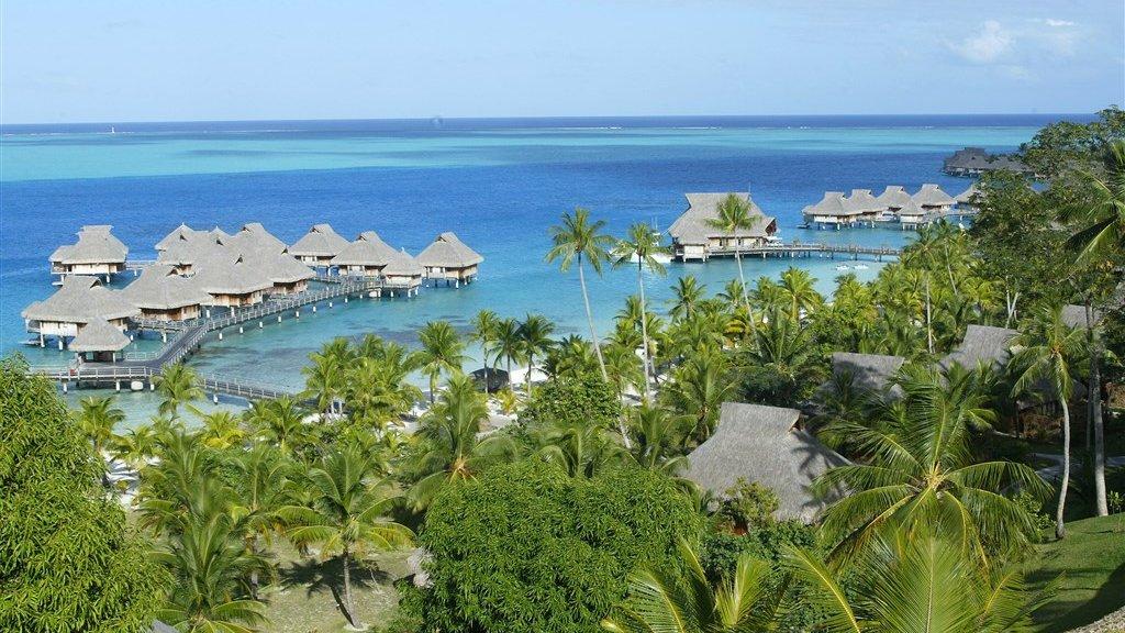 Bungalows op Bora Bora.