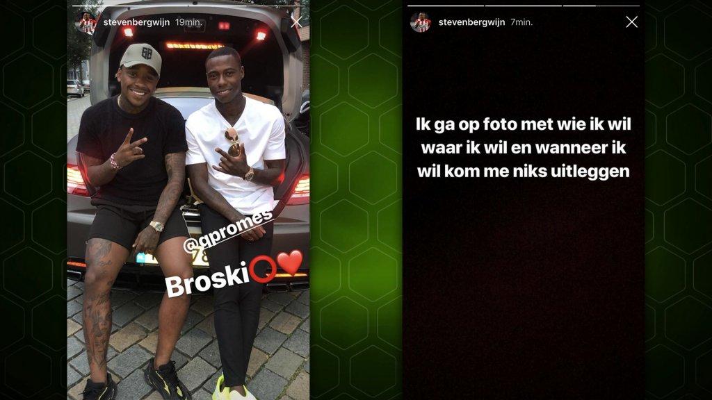 Bergwijn post een foto met Promes op Instagram waar hij even later op reageert.