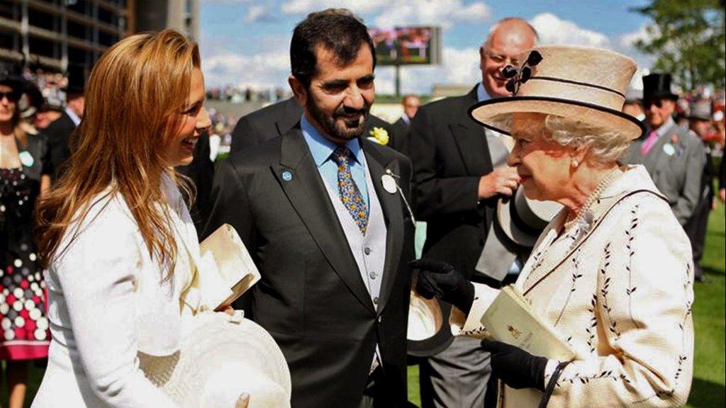 Prinses Haya en sjeik Mohammed met koningin Elizabeth van Engeland.