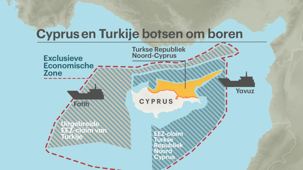 Zuid-Cyprus claimt de hele Exclusieve Economische Zone (EEZ). Noord-Cyprus claimde eerst alleen de zone aan de rechterkant, maar claimt daar nu de uitbreiding links ook bij.