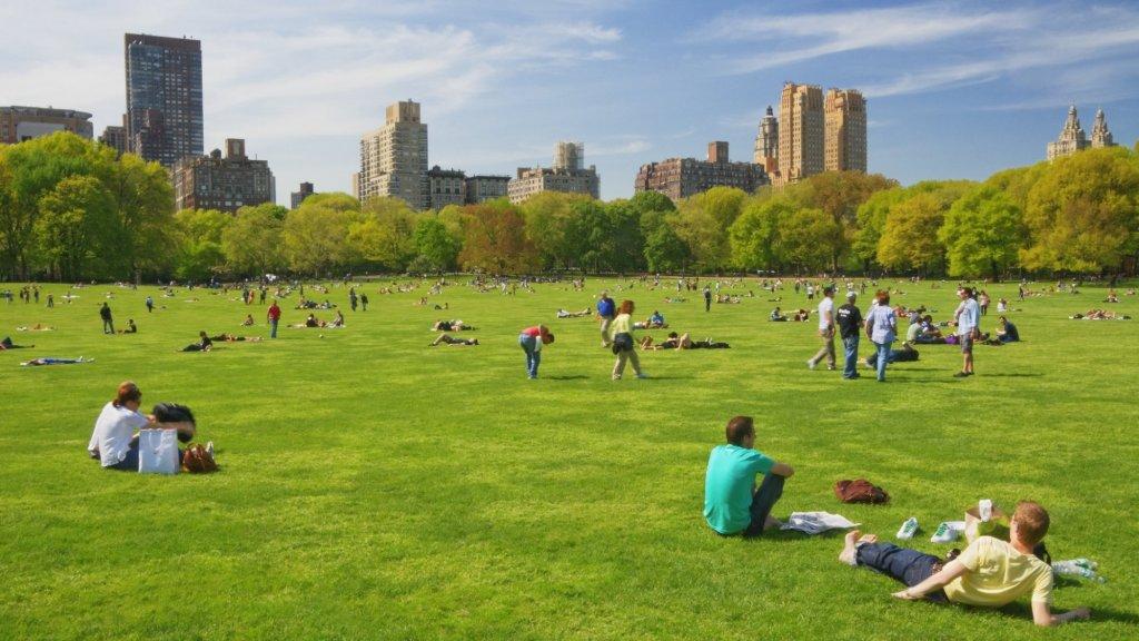 Tussen de colleges even uitrusten in Central Park, New York.