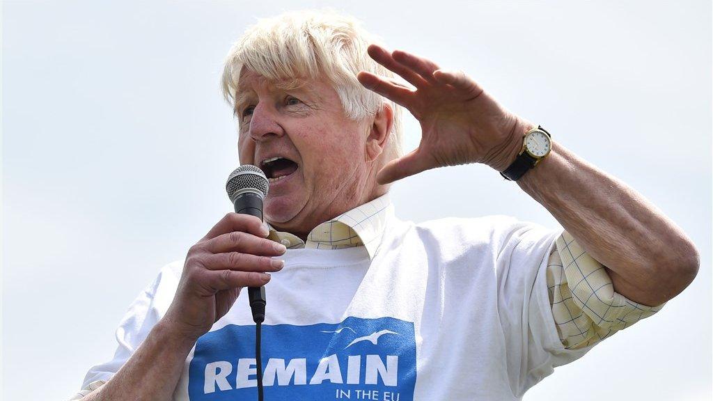 Stanley Johnson, vader van, voerde campagne om in de EU te blijven.