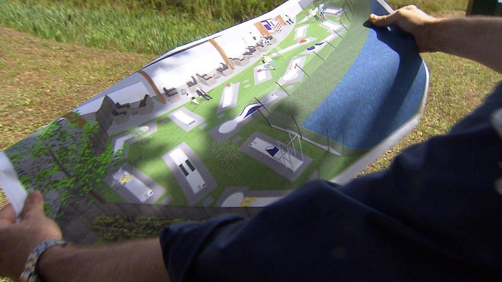 Het plan voor de midgetgolfbaan van Henk Oosterhuis.