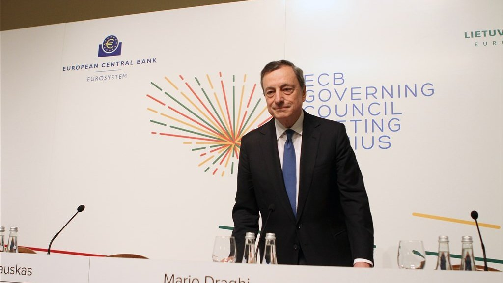 ECB-president Mario Draghi bij de ECB-vergadering van juni.