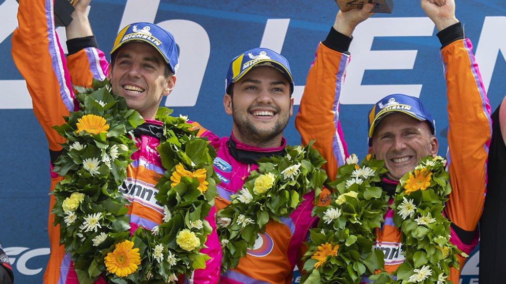 Bleekemolen, Fraga en Keating op het podium na de 24u van Le Mans