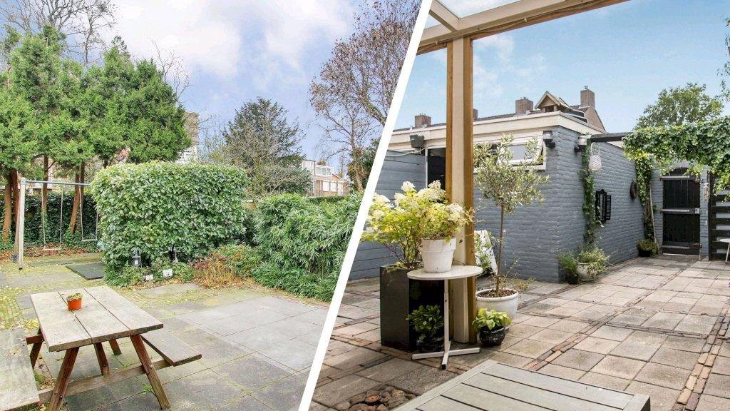 De tuin van een rijtjeshuis in Amsterdam-Zuid (links) en Norg.