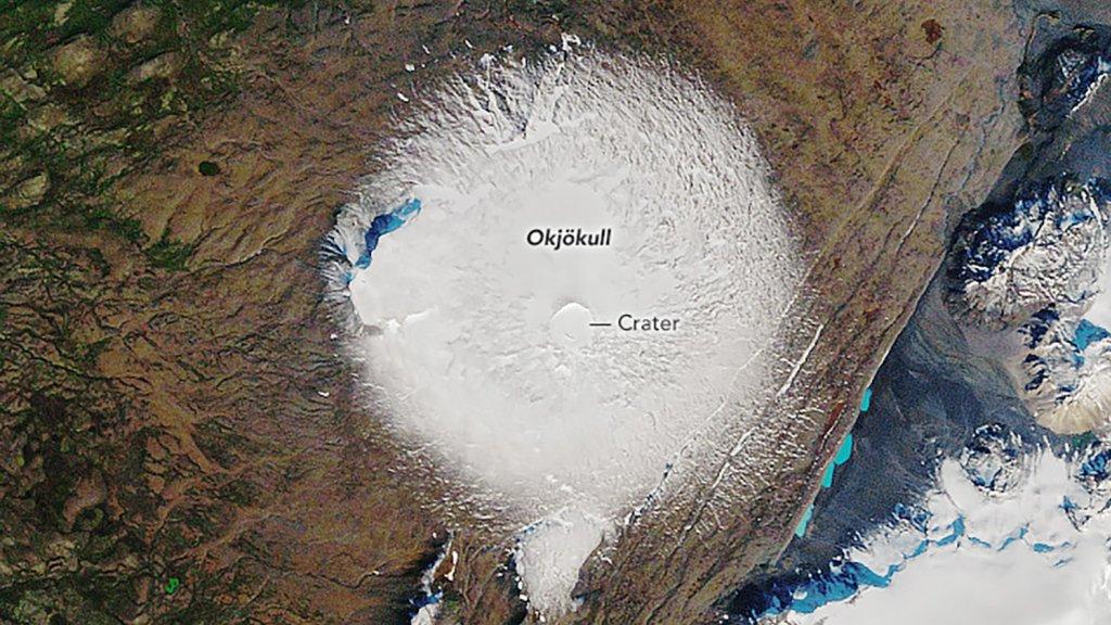 NASA satellietfoto van de Ok gletsjer op 7 september, 1986.