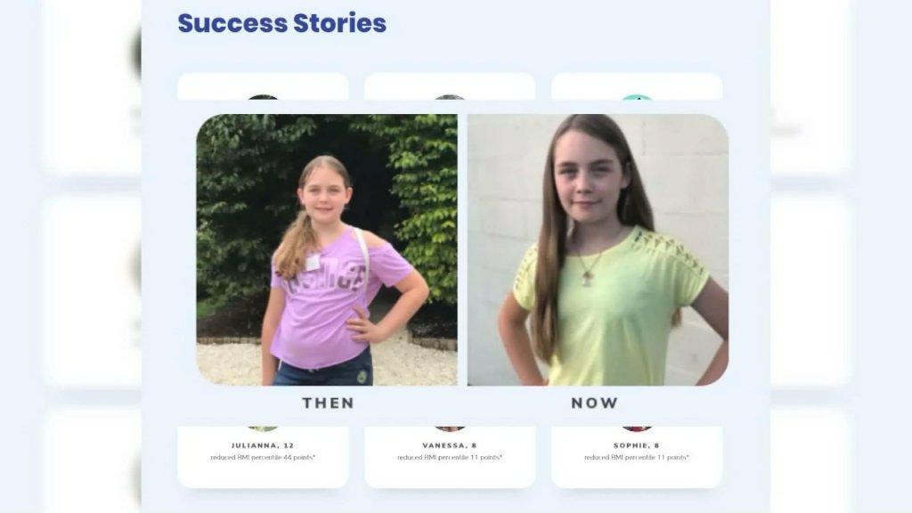 Op de app staan 'voor' en 'na' foto's van kinderen.