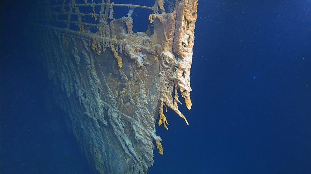 De boeg van Titanic tijdens de laatste duikexpeditie.