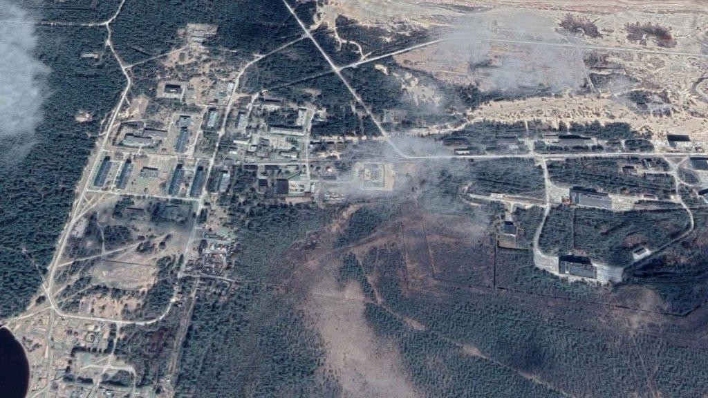 Satellietfoto van de Russische basis waar nucleaire raketten getest worden.