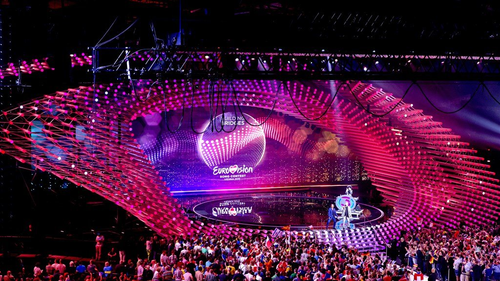 De zaal van het Eurovisiesongfestival in Wenen (2015).