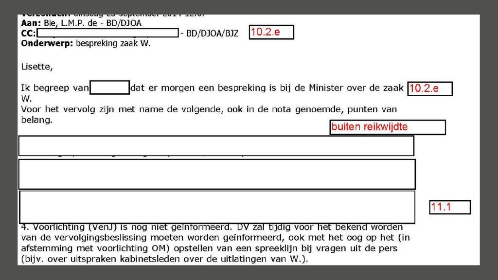 De bewuste mail met in de onderwerpregel 'bespreking zaak W.'
