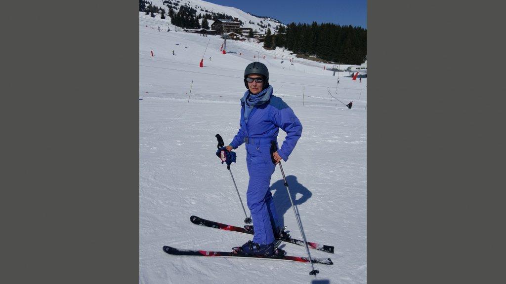 Patricia leerde op latere leeftijd nog skiën.