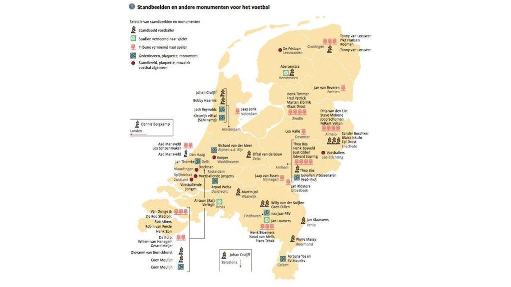 Een overzicht van alle standbeelden, monumenten en naar voetballers vernoemde stadions in Nederland (De Johan Cruijff ArenA staat nog niet op deze afbeelding)