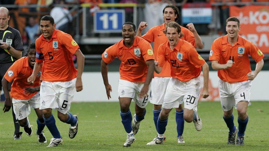Kruiswijk, De Ridder, Maduro, Rigters, Drenthe en Janssen op het EK in 2007