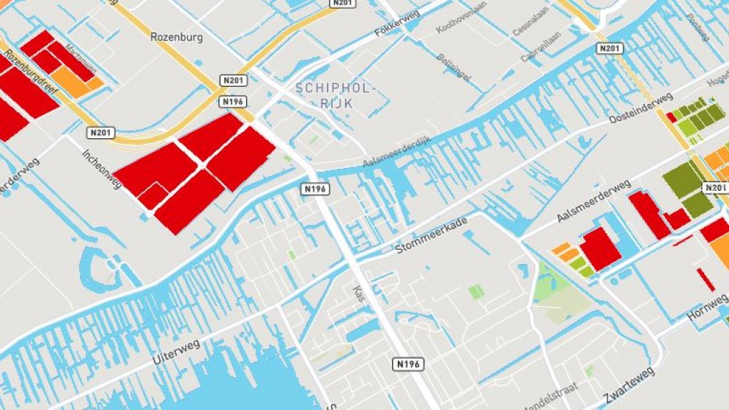 Op Schiphol Logistics Park zijn geen kavels meer beschikbaar, bedrijven moeten uitwijken naar Schiphol Trade Park. Rode kavels zijn vol, groen is beschikbaar en oranje is gereserveerd.