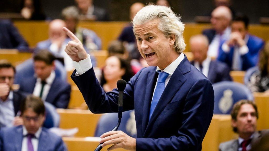 Geert Wilders tijdens een debat.