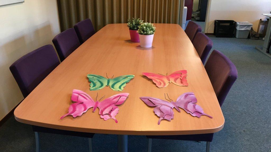 Deze vlinders worden op de herdenkingsplek geplaatst van de school.
