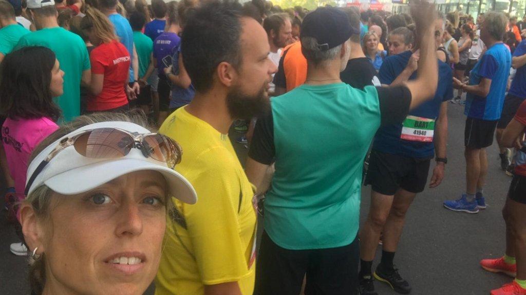 Sharine mocht net als 4000 andere deelnemers niet starten.