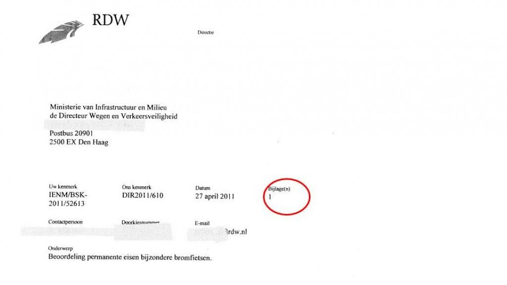 De minister verstrekte wel de RDW-brief, maar hield de bijlage achter