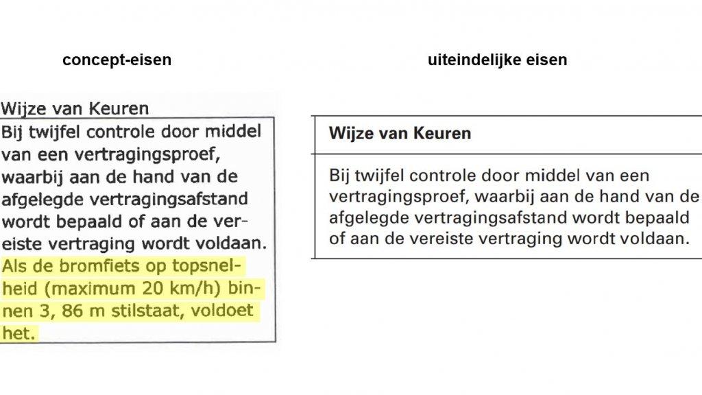 Links de concept-eisen waar de stint op is gekeurd, rechts de uiteindelijke eisen