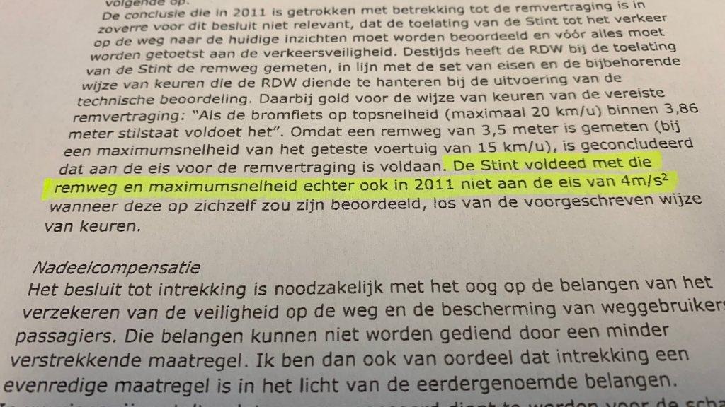In deze brief aan de fabrikant erkent de minister dat de keuring in 2011 foutief was