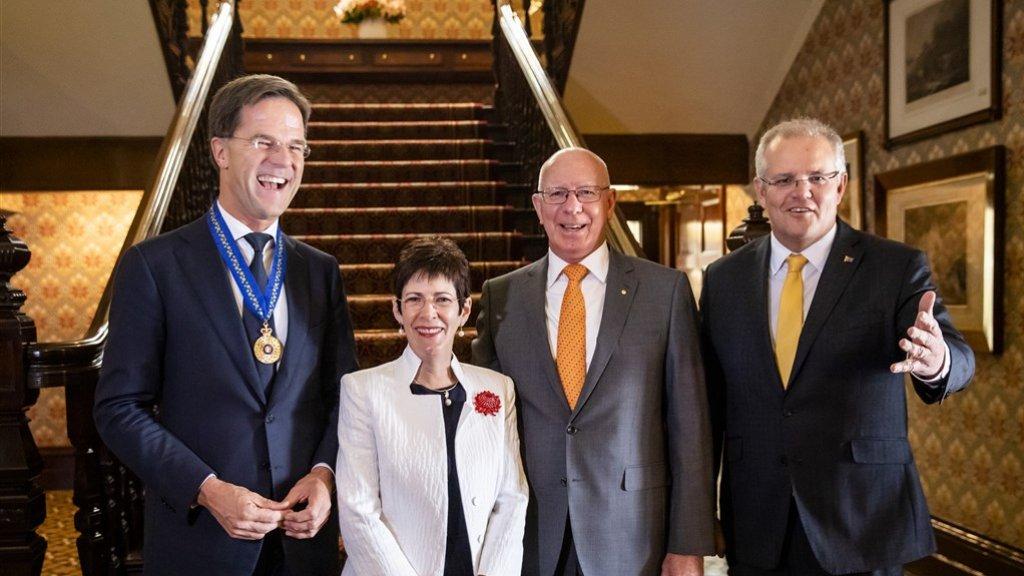 Premier Mark Rutte, Linda Hurley (vrouw van de Gouverneur Generaal), Gouverneur Generaal David Hurley en minister-president Scott Morrison.