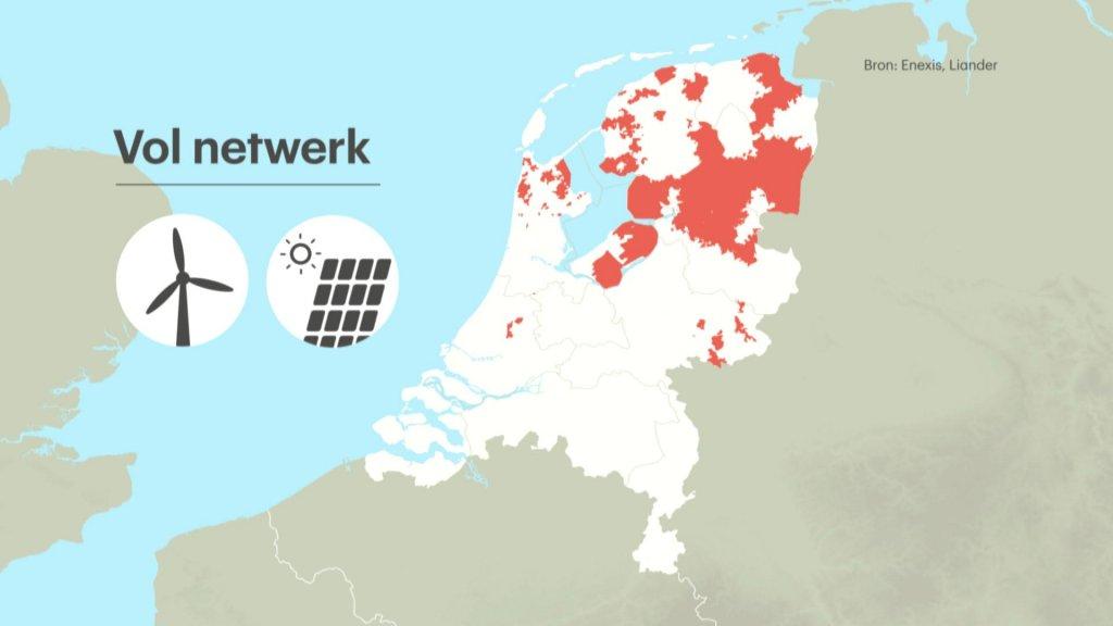 In de rode gebieden worden geen zonne- en windparken meer aangelegd.