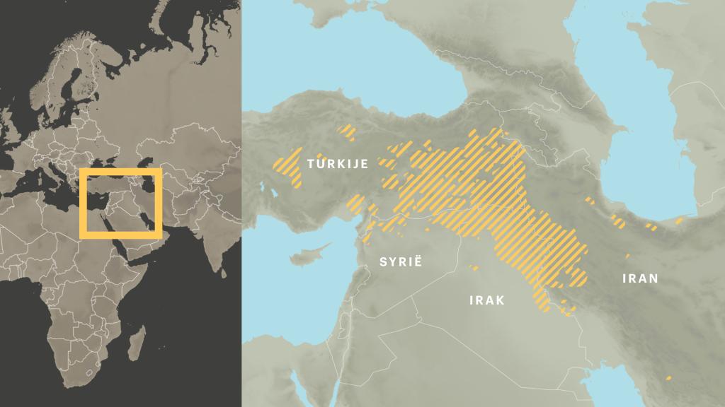In de gele gebieden wonen veel Koerden.