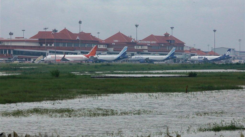 Het vliegveld van de stad Kochi, in de deelstaat Kerala, tijdens een overstroming eerder dit jaar.