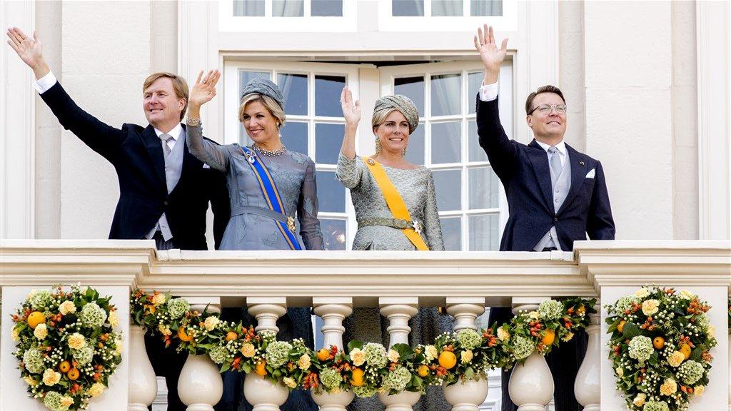 Koning Willem-Alexander, koningin Máxima, prinses Laurentien en prins Constantijn in hun officiële rol.