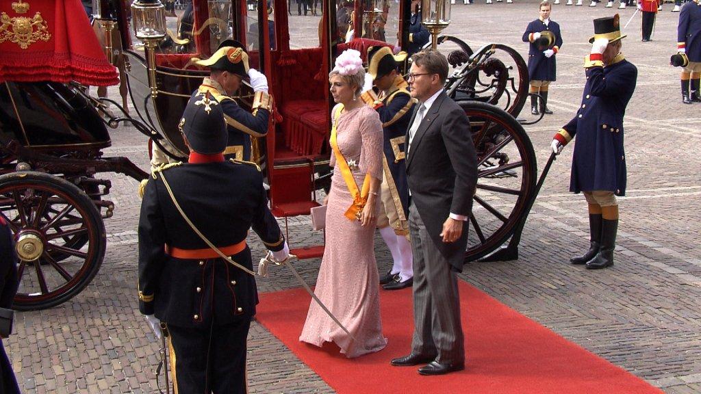 Prins Constantijn en zijn vrouw Laurentien tijdens Prinsjesdag in Den Haag.