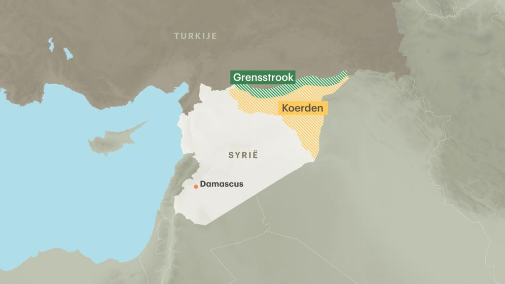 Het Turkse leger probeert de grensstrook te veroveren op de Koerden