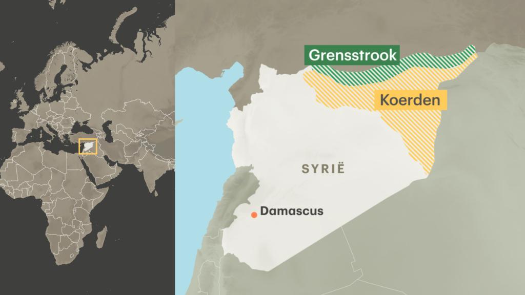 De grensstrook in het noorden van Syrië, die door de Turken is aangevallen.