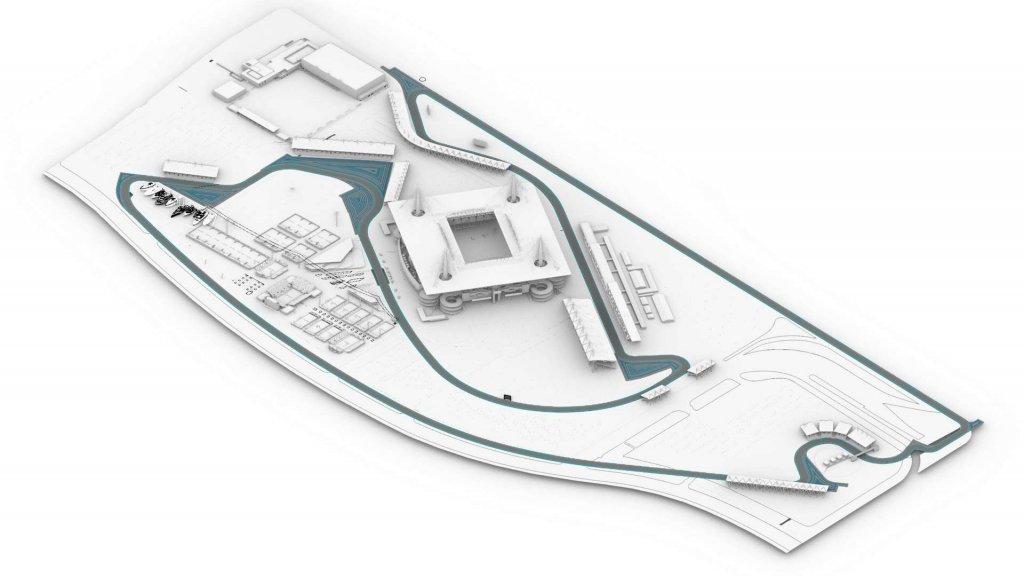 De voorgestelde lay-out van het stratencircuit