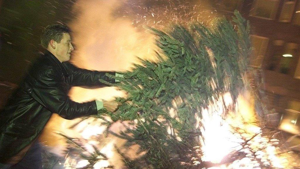 Kerstboomverbrandingen in Den Haag