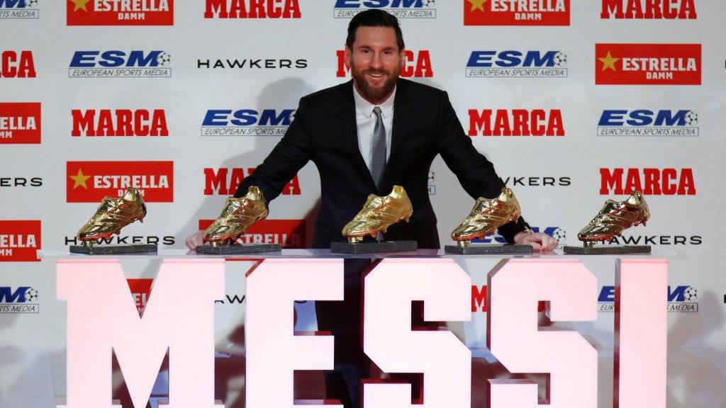Messi met 5 van zijn 6 Gouden Schoenen