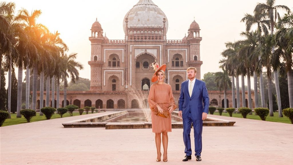 Koningin Máxima en koning Willem-Alexander in New Delhi eerder deze week.