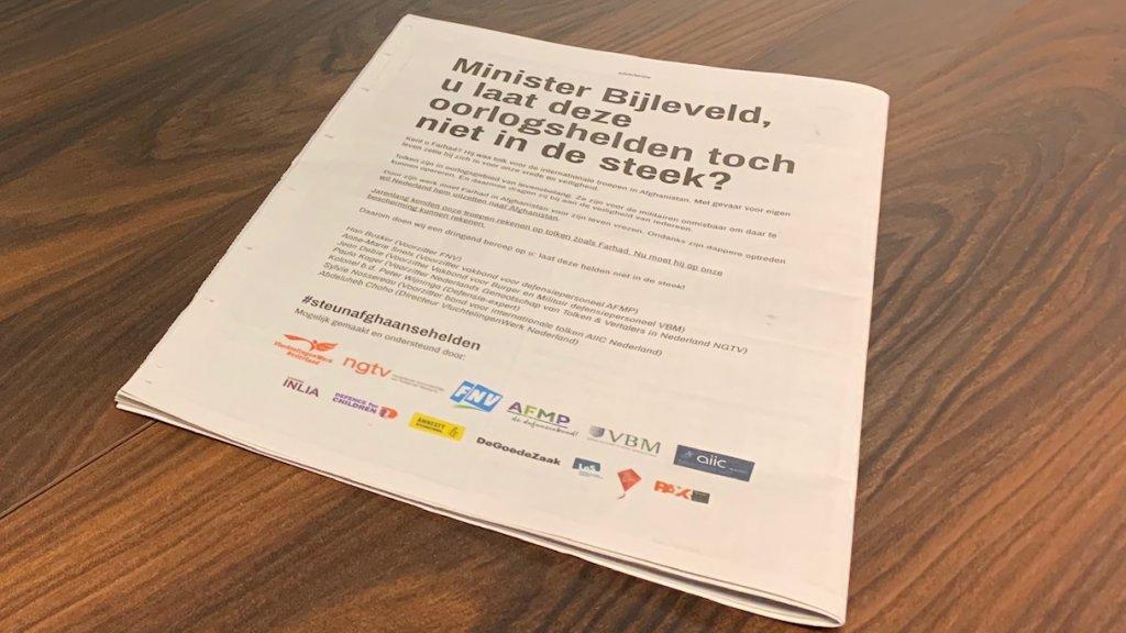 De advertentie in de Telegraaf.