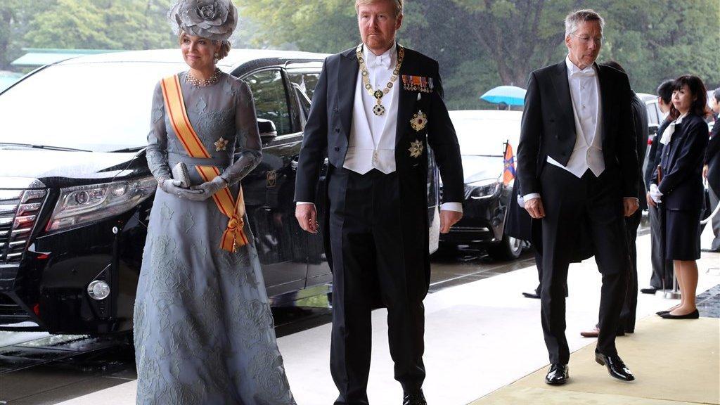 Koning Willem-Alexander en koningin Máxima voor de ceremonie.