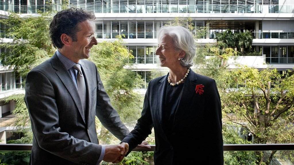 Lagarde op bezoek bij minister Dijsselbloem in Den Haag in 2013.