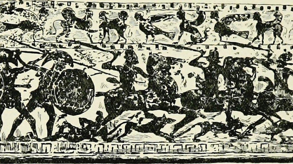 Honden tijdens een veldslag in de Griekse oudheid