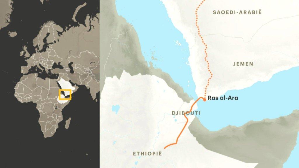 De route van de Ethiopische migranten.