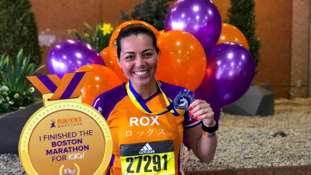 Roxanne na de marathon van Boston.