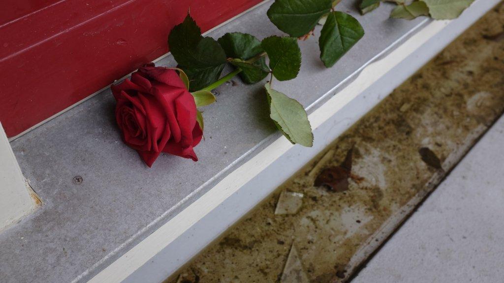 Een roos op de drempel bij het huis van Carla.
