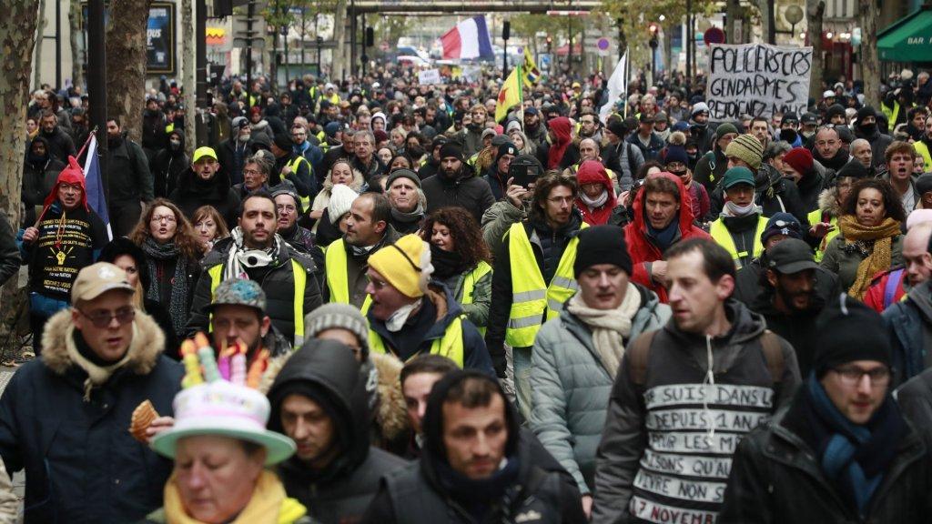 Het vreedzame gedeelte van de demonstratie vandaag.