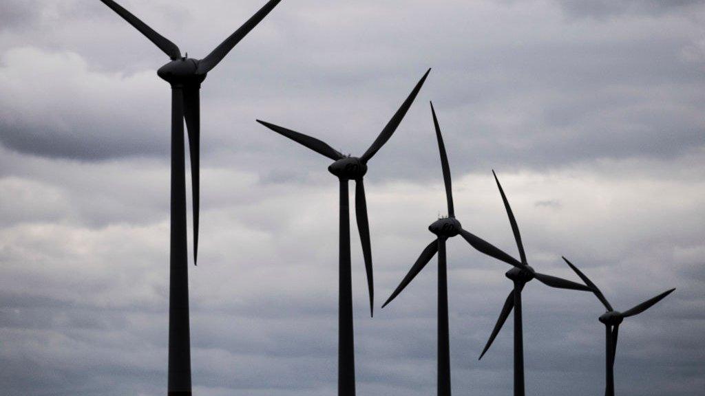 Windmolens bij Feldheim in Duitsland