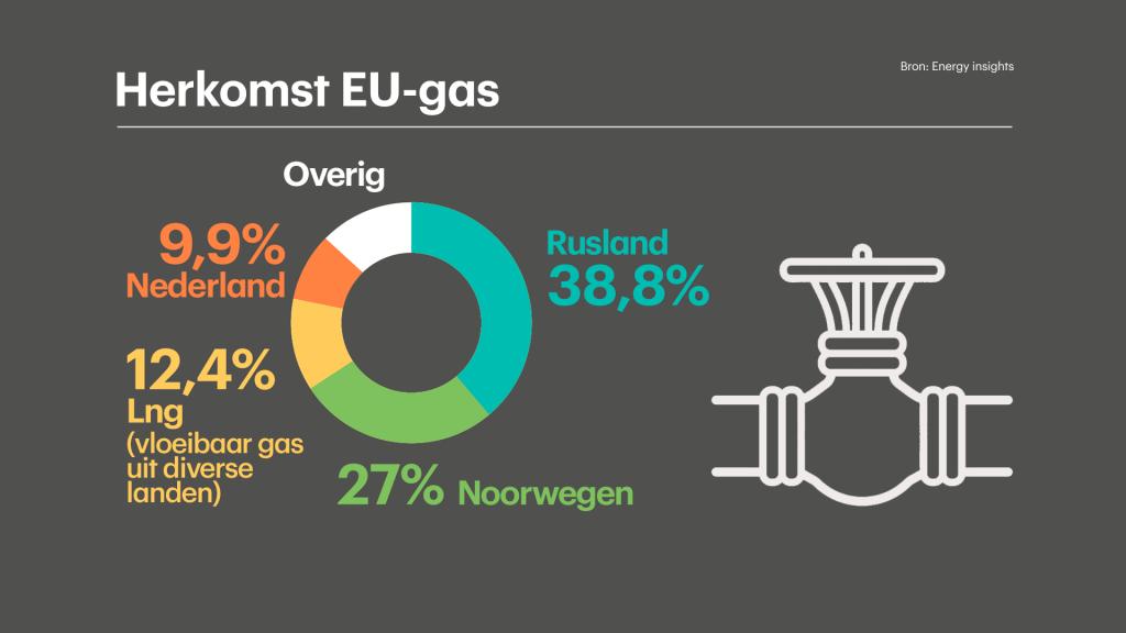 De herkomst van het gas dat de EU invoert.